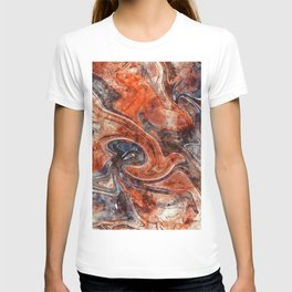 Orange marble watercolor T-shirt