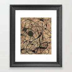 Pollock Inspired Abstract Black On Beige Framed Art Print