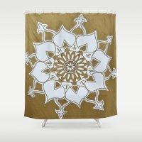 golden Shower Curtains featuring Golden by Aries Art