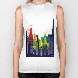 Colorful City Buildings And Skyscrapers In Watercolor, New York Skyline, Wall Art Poster Decor, NYC Biker Tank