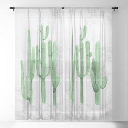 Cactus Trio Marble Green Watercolor by Nature Magick Sheer Curtain