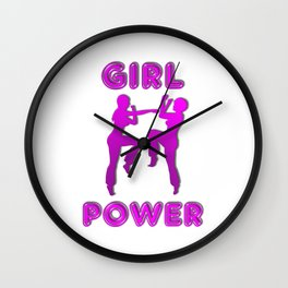 Girl Power Martial Arts Sparring Females Wall Clock