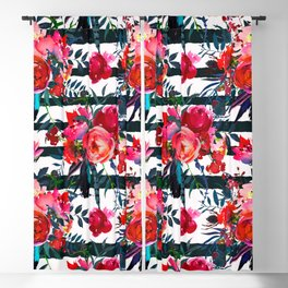 Magenta pink fuchsia black white watercolor floral stripes Blackout Curtain