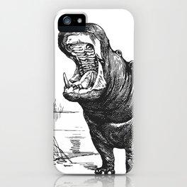 Hippopotamus black and white retro drawing iPhone Case
