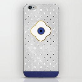 Mati Evil eye protection floral pattern on white iPhone Skin