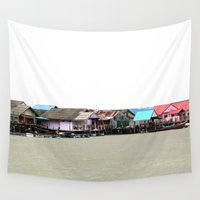 thailand Wall Tapestries featuring houses in thailand by habish