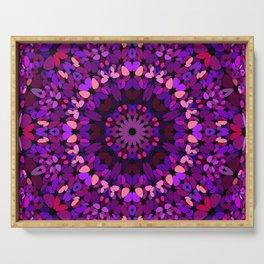 Purple Petal Garden Mandala Serving Tray