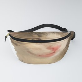 Cute Gray and White Kitten Vector Fanny Pack