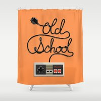 old school Shower Curtains featuring old school by paul nunez