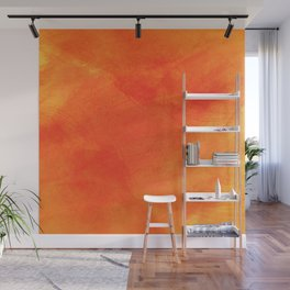 Pure Sunshine Orange and Yellow Abstract Watercolour Wall Mural