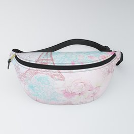 I love Paris - Vintage  Shabby Chic in pink - Eiffeltower France Flowers Floral Fanny Pack