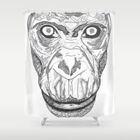 ape Shower Curtains featuring Ape by Eugene Lee