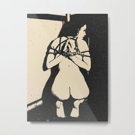 Reverse prayer? Kinky adult erotic, shibari rope bondage, brunette slave girl, submissive nude woman Metal Print