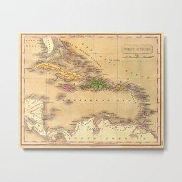 Map Of The Caribbean 1828 Metal Print