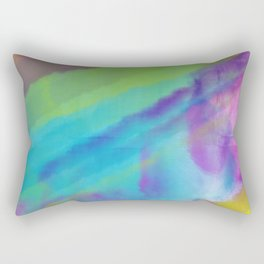 cold green and blue watercolor abstract Rectangular Pillow