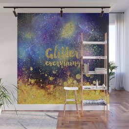 Glitter everything- Girly Gold Glitter effect Space Typography Wall Mural