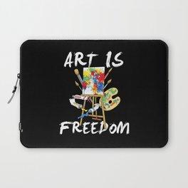 Art Is Freedom - Colorful Paint Tools Artist Painter Illustration Laptop Sleeve