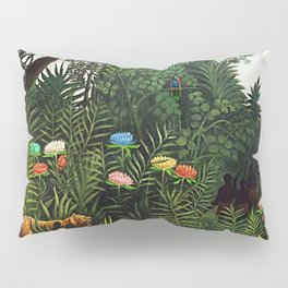 Jungle with Tiger and Hunters by Henri Rousseau Pillow Sham