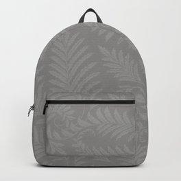 Pantone Pewter Fancy Leaves Scroll Damask Pattern Backpack