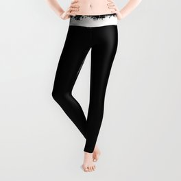 Square Strokes White on Black Leggings