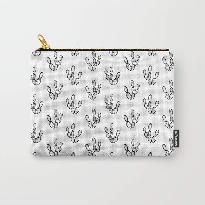 Cactus desert southwest palm springs festival house plant succulent terrarium black and white art Carry-All Pouch