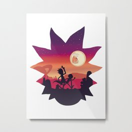 Rick And Morti Run! Metal Print