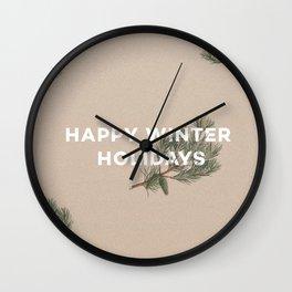 Happy Winter Holidays Wall Clock