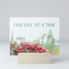 One Day at a Time Fence Flowers Mini Art Print