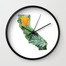 California Poppy in NorCal - State Flower Wall Clock