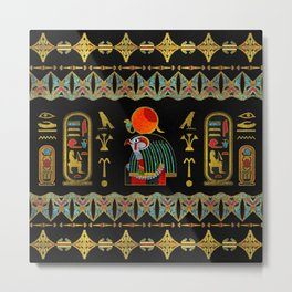 Egyptian Horus Ornament in colored glass and gold Metal Print