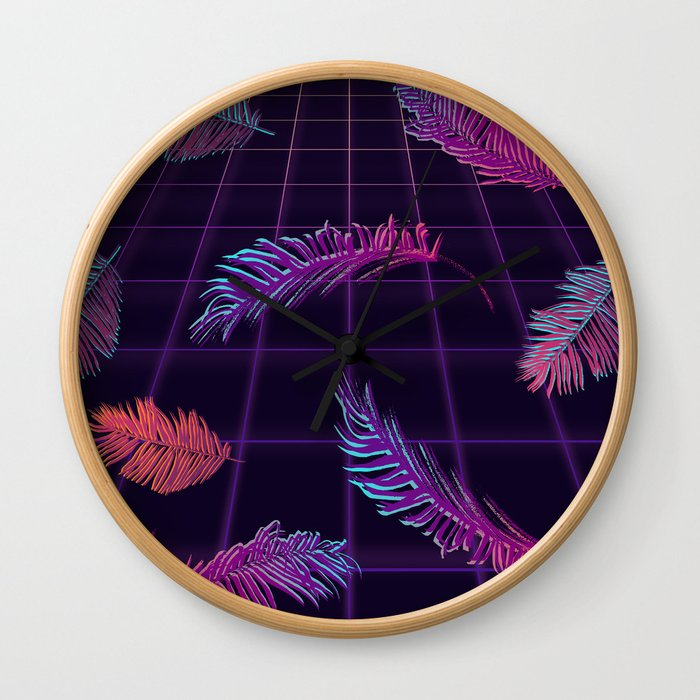 Synthwave Palm Leaves Wall Clock