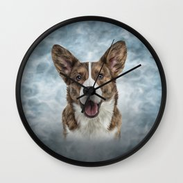 Drawing Dog Welsh Corgi Cardigan Wall Clock