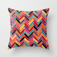herringbone Throw Pillows featuring herringbone by Sharon Turner
