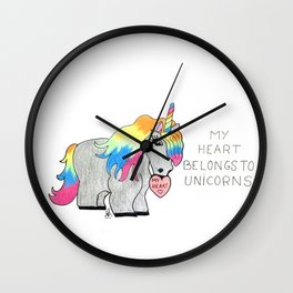 My heart belongs to unicorns Wall Clock