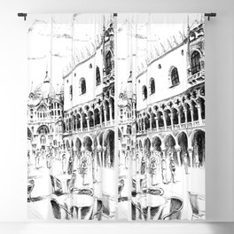 Sketch of San Marco Square in Venice Blackout Curtain