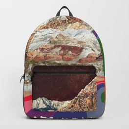 Trippy 1960s Stars and Moon Retro Red Rock Canyon Collage Milky Way Galaxy Colors Backpack