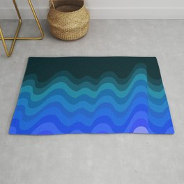 Blue Wave Retro Ripple Rug