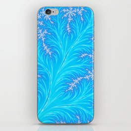 Abstract Aqua Blue Christmas Tree Branch with White Snowflakes iPhone Skin