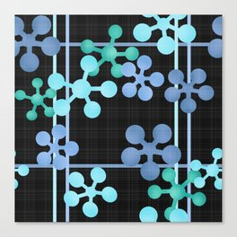 Black blue green abstract pattern Canvas Print