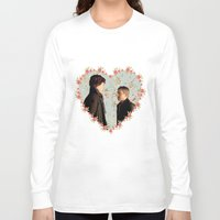 johnlock Long Sleeve T-shirts featuring Hearted Johnlock by thescudders