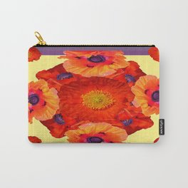 Orange-Yellow Poppies Purple Pattern Art Carry-All Pouch