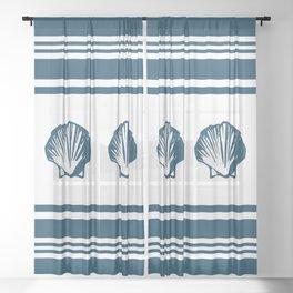 Seashells and stripes Sheer Curtain