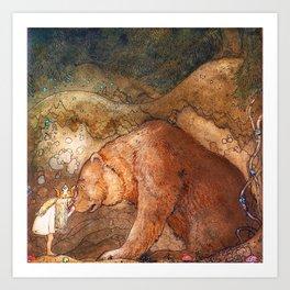 John Bauer - Poor Little Bear - Digital Remastered Edition Art Print