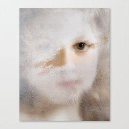 Girl behind a frozen window II Canvas Print