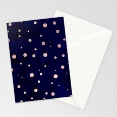Navy blue watercolor chic rose gold modern confetti polka dots pattern Stationery Cards
