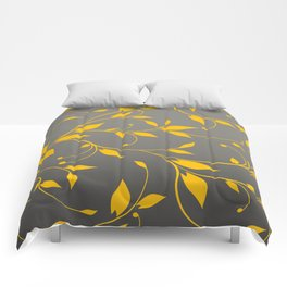 FLOWERY VINES | grey yellow Comforters