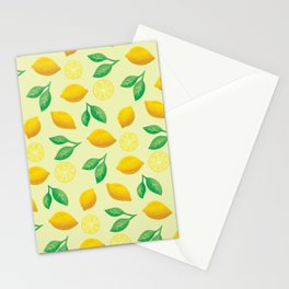 Hand Drawn Lemon Pattern Stationery Cards