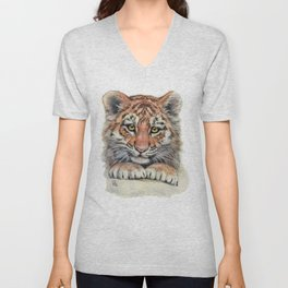 Cute Tiger Cub 903 Unisex V-Neck