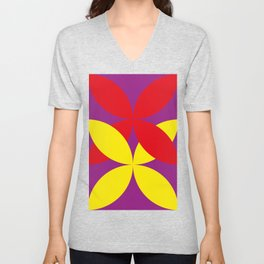 Two four-leaf clovers hugging in a beautiful deep purple space. How lucky! Unisex V-Neck