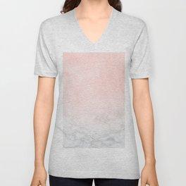 Blush Pink on White and Gray Marble Unisex V-Neck